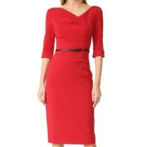 New Black Halo Red Belted Jackie Dress
